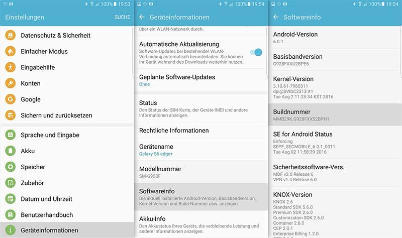 Samsung Galaxy S7 - Entwickleroptionen aktivieren